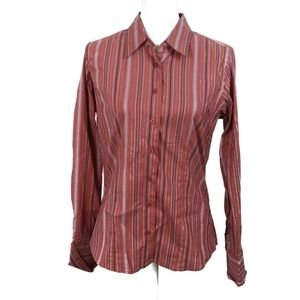T726 Maurices Pink Stripe Button Down Size Large